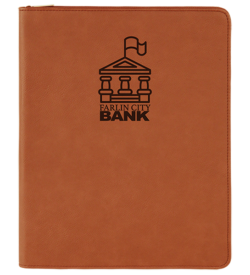 Rawhide with Zipper Laserable Leatherette Portfolio with Notepad