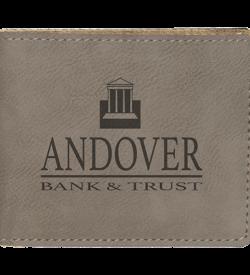 Gray Laserable Leatherette Bifold Wallet