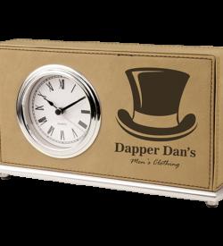 Light Brown Laserable Leatherette Horizontal Desk Clock