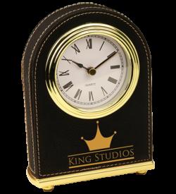 Black Laserable Leatherette Arch Desk Clock