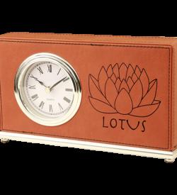 Rawhide Laserable Leatherette Horizontal Desk Clock