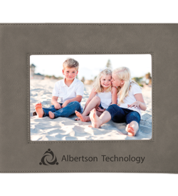 Gray Laserable Leatherette Picture Frame