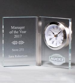 Clear Glass Book Clock