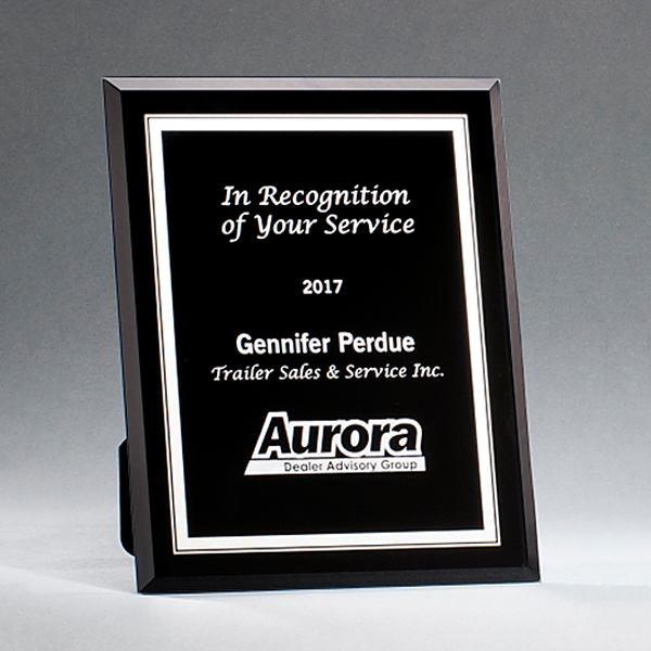 Black Glass Plaque with Silver Border