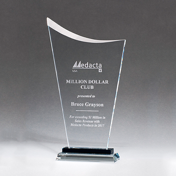 Contemporary Clear Glass Award with Pedestal Base