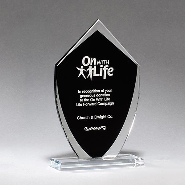 Shield Shaped Glass Award with Black Silk Screened Center