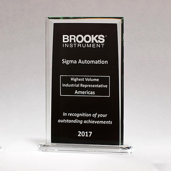 Rectangular Glass Award with Black Silk Screened Center